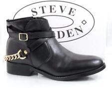 Women's Steve Madden Ringo Ankle Boots Booties Leather Black / Gold Size 8.5
