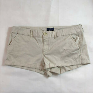 American Eagle Outfitters Women's Khaki Cotton Shortie Stretch Shorts - Size 14