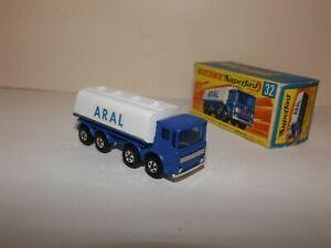 MATCHBOX TRANS. S/F NO.32-A LEYLAND TANKER RARE BLUE/WHITE 'ARAL' LABELS MIB