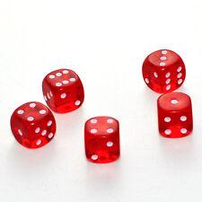 100 Stück 15mm Transparent Rot Knobel Würfel / Augen Würfel Frobis Spielwürfel