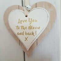 Double Layer Wood Heart Hanging Sign Love You to the Moon and Back Cream