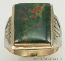 10k Solid Two-Tone Gold Men's Ring Antique 1920's Art Deco Natural Bloodstone