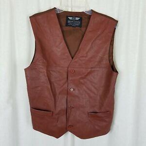 Vintage Ironsides Original Leatherwear London Brown Leather Waistcoat Vest Mens