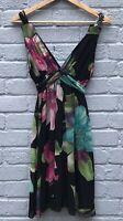 Ax Bold Floral Print Braided Strap Chiffon Sun Dress Size 14