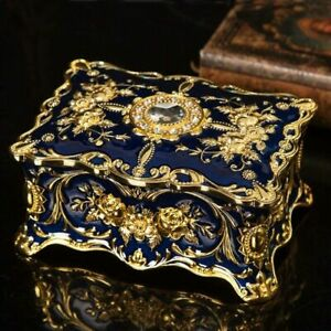 BLUE TIN ALLOY RECTANGLE MUSIC BOX : CAN'T HELP FALLING IN LOVE