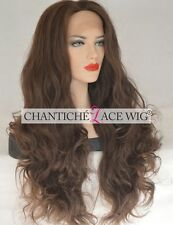 """24"""" Women's Lace Front Wigs Brown Long Wavy Synthetic Hair Full Wig Heat Safe UK"""