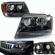 BLACK HOUSING CLEAR LENS AMBER REFLECTOR HEADLIGHT FIT 99-04 JEEP GRAND CHEROKEE