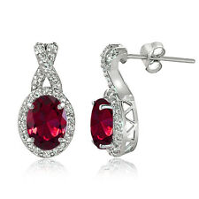 Sterling Silver 3ct TGW Created Ruby & White Topaz Oval and X Drop Earrings