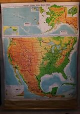 1966 DENOYER-GEPPERT Pull Down School Map S1vr United States w/ Mexico 89Hx63W