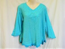 "BLUE EMBROIDERED TOP 3/4 SLEEVE INDIA COTTON  L 12 to 16 AUZ  ""NWT"" RRP $36 .C14"