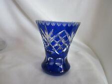 "Bohemian Cobalt Cut To Clear Vase  5"""