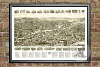 Old Map of Machias, ME from 1896 - Vintage Maine Art, Historic Decor