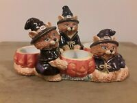 Partylite Tealight Candle Holder Halloween Witch Cats Holds 3 Candles