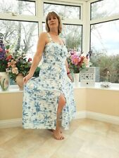 STUNNING NEW MONSOON BLUE & WHITE COTTON TROPICAL PALM TREES PRINT SUN DRESS 22
