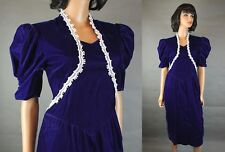 80s Prom Dress XS Vintage Gunne Sax Cobalt Blue Velvet White Lace Cocktail Gown