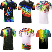 US Mens Paint Splatter 3D Painting Short Sleeve Casual T-Shirt Tee Shirts Tops