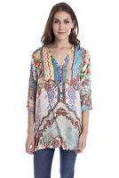 Johnny Was Resort Printed 100% Silk Blouse C18918 NEW Boho Chic