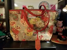 NWT AUTHENTIC Cute Cath Kidston Flora Tote Bag for summer. Leather Trims