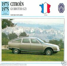CITROËN GS BIROTOR (GZ) 1973 1975 CAR VOITURE FRANCE CARTE CARD FICHE