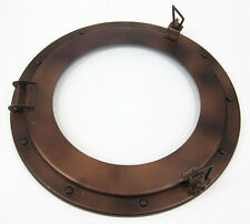 "Iron Metal Ship's Porthole Window 15"" Antiqued Brown Finish Nautical Wall Decor"
