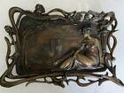 Large French Bronze Art Nouveau Figural Tray
