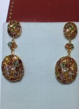 Sapphire Dangle Cluster Earring 11.46Gm 14k Solid Yellow Gold Multi-Color