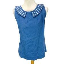 Boden Women's Linen Blouse Beaded Detail Peter Pan Collar Blue Size US 12