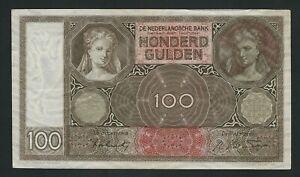 NETHERLANDS  100 GULDEN   1942  XF