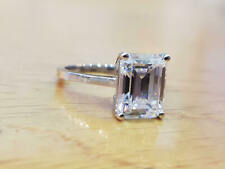 3Ct Emerald VVS1 Diamond Solitaire Engagement Ring Solid 14K White Gold Finish
