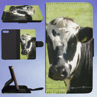 BLACK AND WHITE COW IN GRASS FIELD FLIP WALLET CASE FOR APPLE IPHONE PHONES