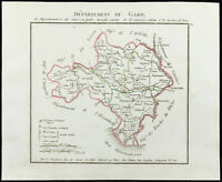 1802 - Antique Map Department the Gard of Chanlaire. France