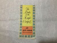 Vtg 1961 Air India Airlines The Route of the Magic Carpet Service Fold Out Map