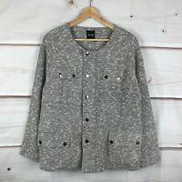 Nic + Zoe Plus Size Snap Tweed Metallic Womens 1X Multicolor Utility Jacket NWT