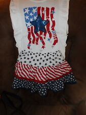 Girls 4th Of July Outfit Skort- 5T & Top- 4T Stars & Stripes Nice