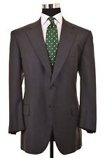 Brooks Brothers Golden Fleece Martin Greenfield Gray Stripe Suit Jacket Pants 45