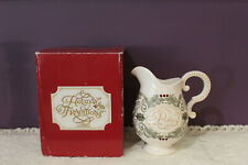 HOLIDAY TRADITIONS CERAMIC 'PEACE' MILK PITCHER HOLLY LEAVES & BERRIES