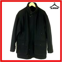 YSL Yves Saint Laurent Mens Navy Blue Wool Blend Coat Jacket L Large Pour Homme