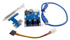 PCI-E 1X Expansion Kit 1 to 3 Port Switch Multiplier Hub Riser Carte USB 3 Câble