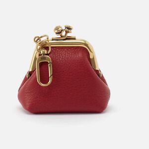 Hobo Intl NWT Run Scarlet Red Leather Kisslock Purse W/ Dog Clip