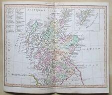 c1825 Scotland Western Shetland Isles Genuine Antique Map Hand Coloured Adams