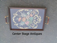 COL WW; ANTIQUE NEEDLEPOINT WOOD HANDLED SERVING TRAY