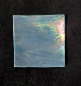 """4 +"""" Iridescent Art Glass Trinket Vanity/Soap/Candle Dish Made in Florida USA"""