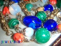 ART DECO CZECH FILIGREE Harlequin JEWEL + OPALESCENT Glass Bead VINTAGE NECKLACE