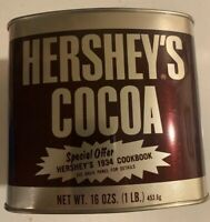 Vintage 1970's Hershey's Chocolate Cocoa Tin Unopened Full NOS 16 Oz