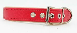 Red on Cream leather dog collar with Red stitching and nickle plate hardware