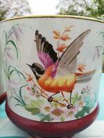 Cache-pot ancien en porcelaine d'Oiseau 19ème siècle France Antique planter flow