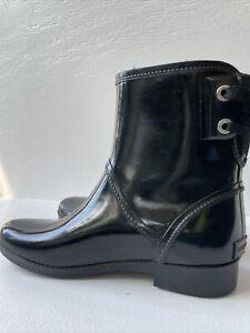 Michael Kors Women Black Rain Boots, Adjustable Back String Size 7