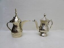 2X Brass Coffee Teapot Small Handmade Islamic Persian Vintage Middle Eastern