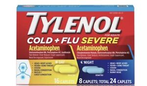 TYLENOL Cold and Flu Severe Day/Night Caplets - 24 Count Exp 06/21