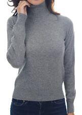 Balldiri 100% Cashmere Kaschmir Damen Pullover Rollkragen mit Bündchen grau XXL